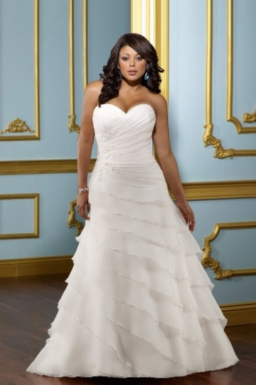 Weddingbuy Sweetheart Tiers Lace Up Organza Ivory Plus Size Bridal Gown