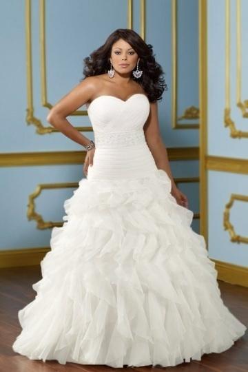 Weddingbuy Backless Sweetheart Organza Ruffles Plus Size Wedding Dress