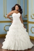 Weddingbuy Backless Sweetheart Organza Ruffles Plus Size Wedding Dress