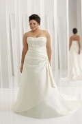 Weddingbuy Strapless Lace Up Embroidery Ivory Plus Size Bridal Gown