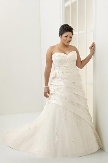 Weddingbuy Sweetheart Taffeta Ruching Lace Up Plus Size Bridal Gown