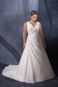 Weddingbuy V Neck Chiffon Ruching Ivory Plus Size Wedding Dress