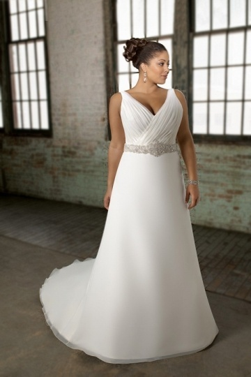 Weddingbuy V Neck Beading A Line Organza Ivory Plus Size Bridal Gown