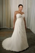 Weddingbuy Sweetheart Appliques Chiffon Lace Up Plus Size Bridal Gown