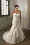 Weddingbuy Sweetheart Ruching Flower Satin Ivory Plus Size Bridal Dress