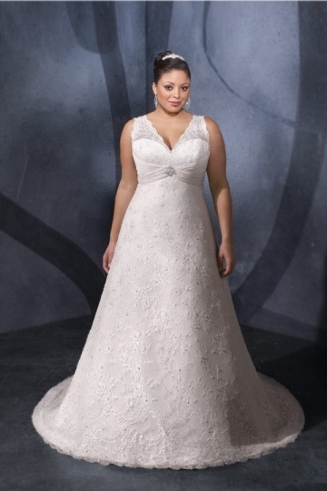 Weddingbuy V Neck Lace A Line Court Train Plus Size Wedding Dress