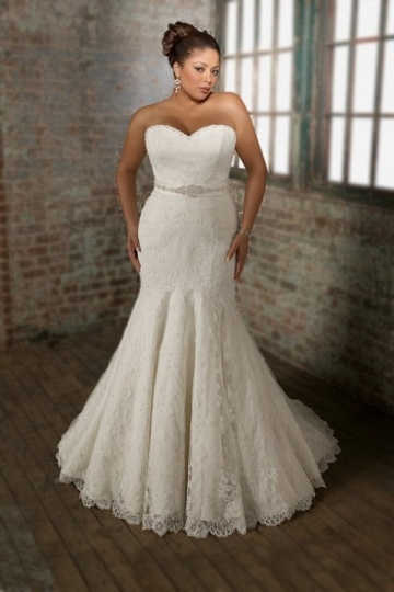Weddingbuy Modern Mermaid Lace Sweetheart Bow Plus Size Wedding Dress