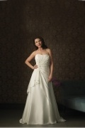 Weddingbuy Strapless A Line Chiffon Ruching Ivory Plus Size Wedding Dress
