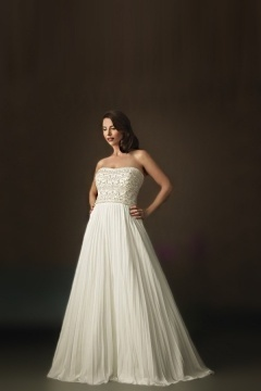 Weddingbuy Chiffon Backless A Line Pleats Ivory Wedding Dress