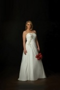 Weddingbuy Strapless A Line Beading Chiffon Plus Size Wedding Dress