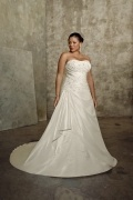 Weddingbuy Strapless Appliques Taffeta Ivory Plus Size Bridal Gown