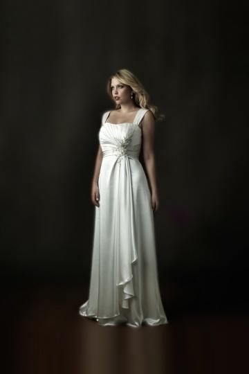 Weddingbuy Silk Like Satin Straps Ruching Ivory Plus Size Wedding Gown