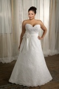 Weddingbuy Sweetheart A Line Lace Flower Plus Size Wedding Dress
