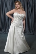 Weddingbuy Strapless A Line Lace Up Satin Ivory Plus Size Bridal Gown