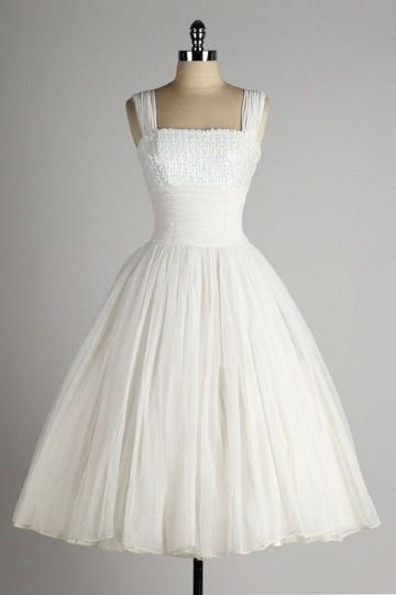 Kurzes trägerloses Pailletten Brautkleid Persun