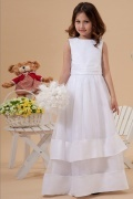 Organza Boatneck Bow A line Long White Flower Girl Dress