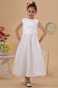 Concise Taffeta Boatneck Ruching Hand-made Flower A line Long White Flower Girl Dress