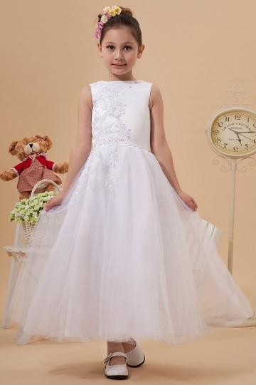 Beautiful Organza Boatneck Lace Applique A line Long Flower Girl Dress