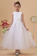 Beautiful Organza Boatneck Lace Applique A line Long Flower Girl Dress