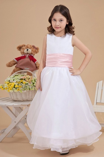 Simple Organza Round Colour Matching A line Long Florwer Girl Dress