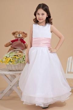Robe mariage enfant col rond en organza à volant