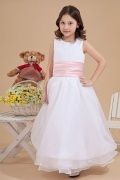 Simple A line White Organza Sleeveless Flower Girl Dress with Sash