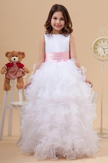 Stunning Organza Boatneck Ruffle A line Long Florwer Girl Dress