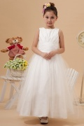 Simple Tulle Boatneck Bow Ruching A line Long Florwer Girl Dress