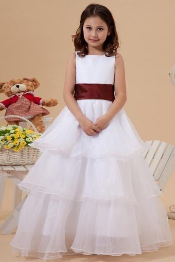 Beautiful Organza Boatneck Ruffle A line Long Flower Girl Dress