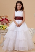 Sleeveless A line Square Sash Tiers White Flower Girl Dress