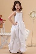 Delicate Taffeta Square Neck Embroidery Ruching A line Long Flower Girl Dress