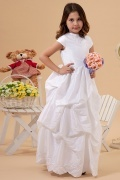 Elegent Taffeta Boatneck Embroidery A line Long Flower Girl Dress