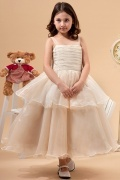 Lovely Organza Straps Square Neck Ruffle Bow Long Flower Girl Dress