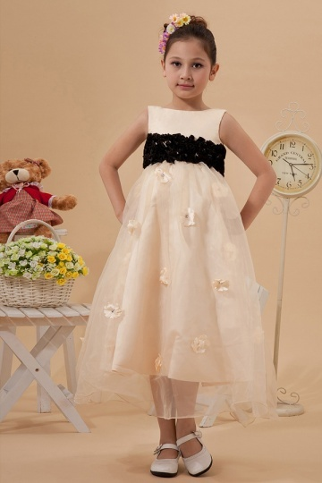 Exquisite Organza Boatneck Hanbok Style A line Long Champagne Flower Girl Dress