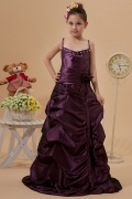 Amazing Taffeta Spaghetti Beading Ruching A line Long Flower Girl Dress