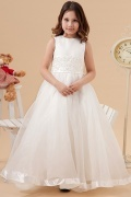Beautiful Organza Round Lace Applique Beading Long Flower Girl Dress