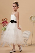 Ball gown Tulle Tea length Strap Sash Tiers Flower Girl Dress