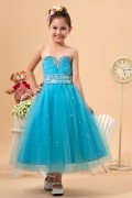 Stunning Tulle Strapless Beading A line Long Ocean Blue Florwer Girl Dress