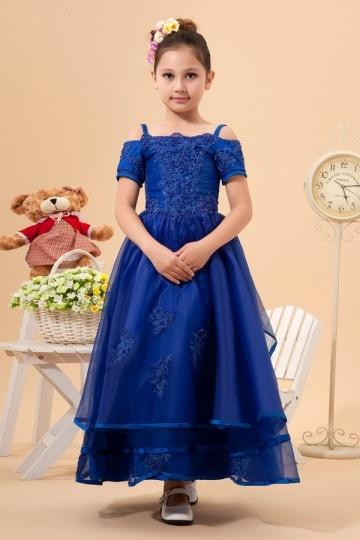 Amazing Organze Straps Square Neck Beading Lace Applique A line Long Flower Girl Dress