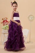 Simple Adorable Organze Straps Square Neck Ruching A line Long Flower Girl Dress