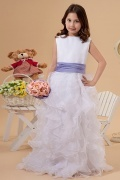 Natural waist Bateau Organza Sleeveless White Flower Girl Dress with Sash