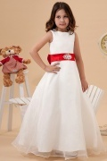 Sleeveless Organza White Bow Flower Girl Dress with Sash