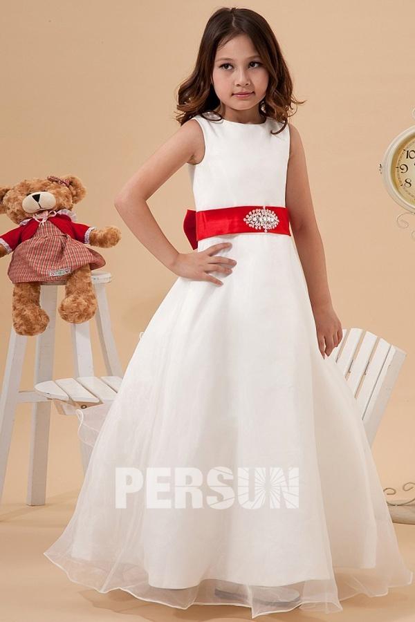 Robe mariage enfant blanche dot e dune ceinture rouge for Don de robe de mariage militaire