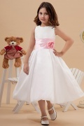 Simple Taffeta Round Color Matching Belt A line Long Flower Girl Dress