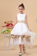 Beautiful Taffeta Boatneck Bow Lace Embroidery A line Long Flower Girl Dress