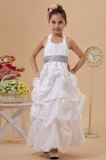 Simple Taffeta Halter Color Matching Belt A line Long Flower Girl Dress