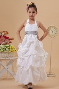 Simple Taffeta Halter Color Matching Belt A line Long Flower Girl Dress
