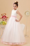 Sleeveless White Tulle Flower Girl Dress with Appliques with Sash