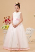 Simple Delicate Tulle Round Lace Applique Beadings Long Flower Girl Dress