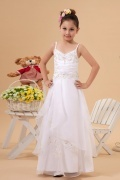 Delicate Organza Spaghetti V neck Applique Embroidery A line Long Flower Girl Dress
